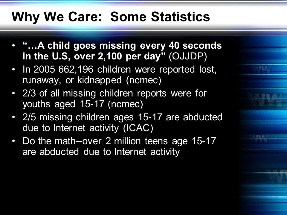 Why We Care: Some Statistics …A child goes missing every 40 seconds in the U.S, over 2,100 per day (OJJDP) In 2005 662,196 children were reported lost, runaway, or kidnapped (ncmec) 2/3 of all missing children reports were for youths aged 15-17 (ncmec) 2/5 missing children ages 15-17 are abducted due to Internet activity (ICAC) Do the math--over 2 million teens age 15-17 are abducted due to Internet activity