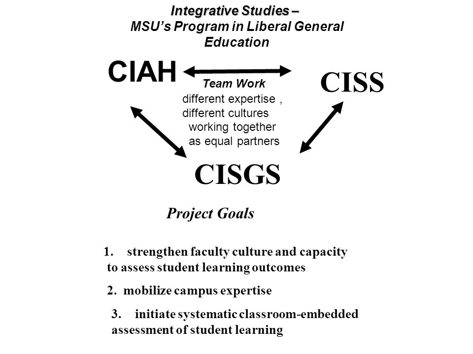 Integrative Studies – MSUs Program in Liberal General Education Team Work different expertise, different cultures working together as equal partners C
