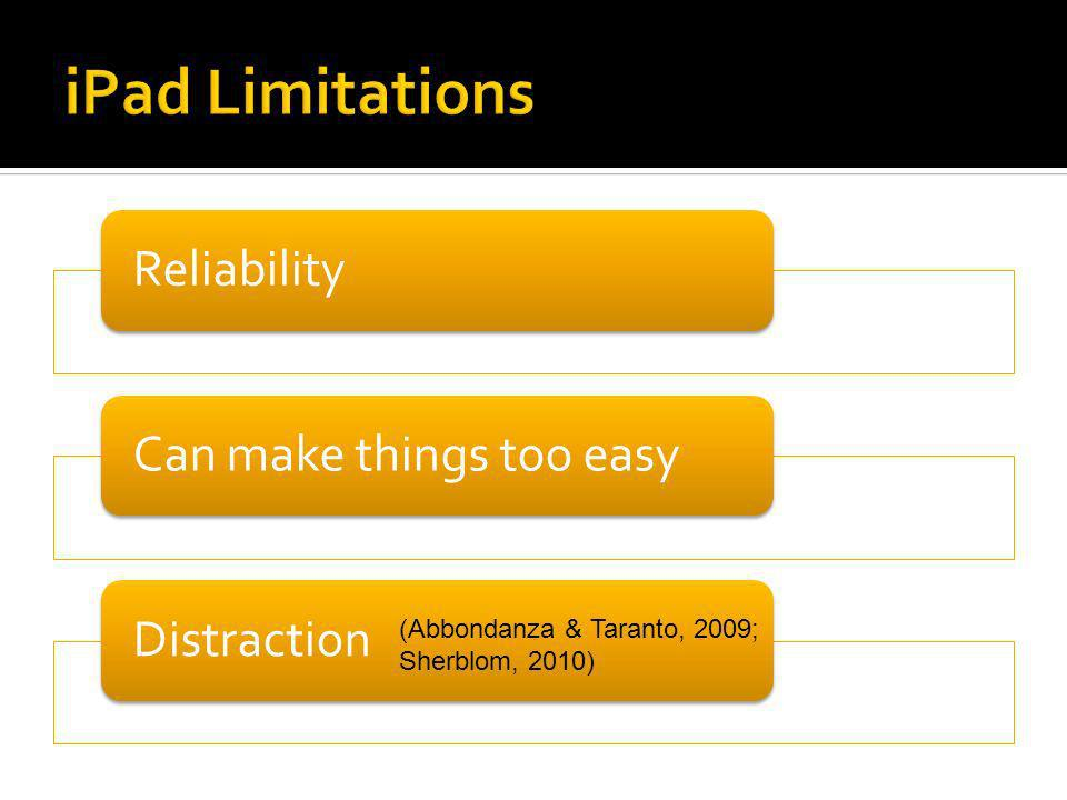 ReliabilityCan make things too easyDistraction (Abbondanza & Taranto, 2009; Sherblom, 2010)