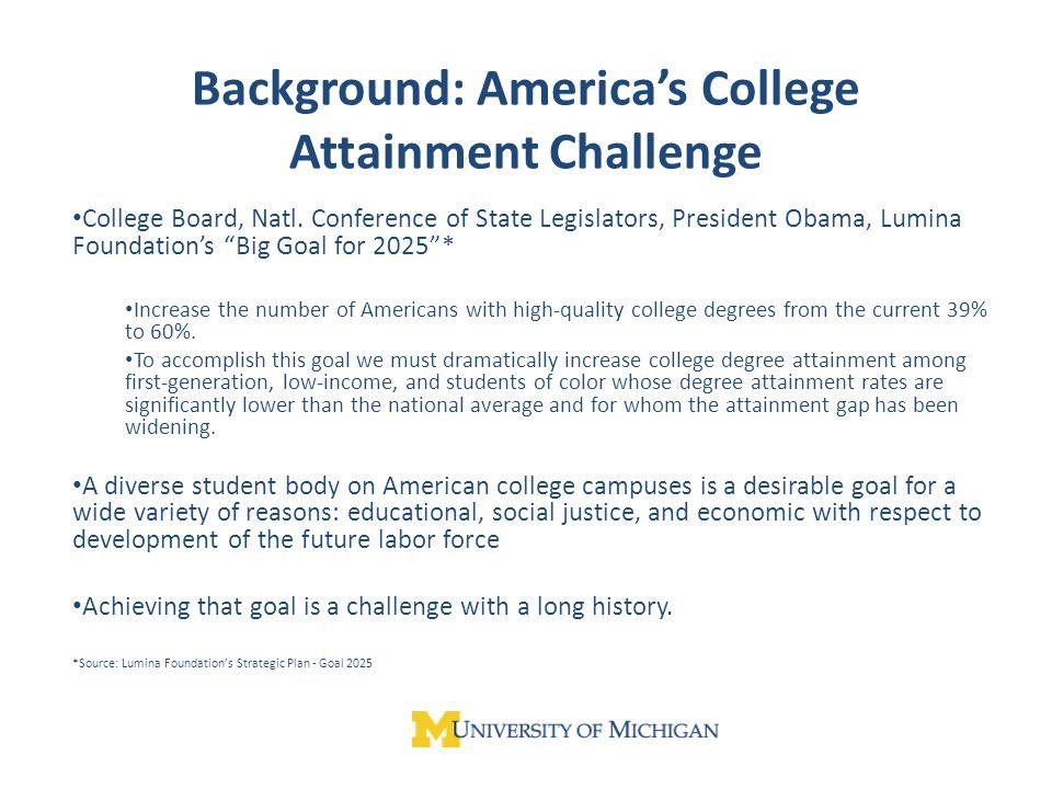 Background: Americas College Attainment Challenge College Board, Natl.