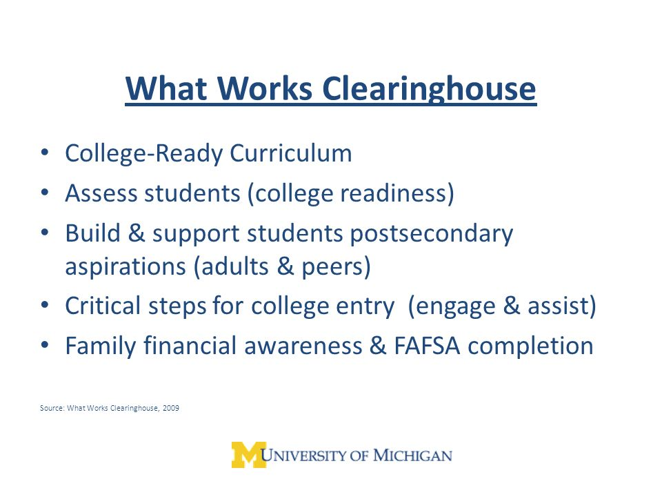 What Works Clearinghouse College-Ready Curriculum Assess students (college readiness) Build & support students postsecondary aspirations (adults & peers) Critical steps for college entry (engage & assist) Family financial awareness & FAFSA completion Source: What Works Clearinghouse, 2009