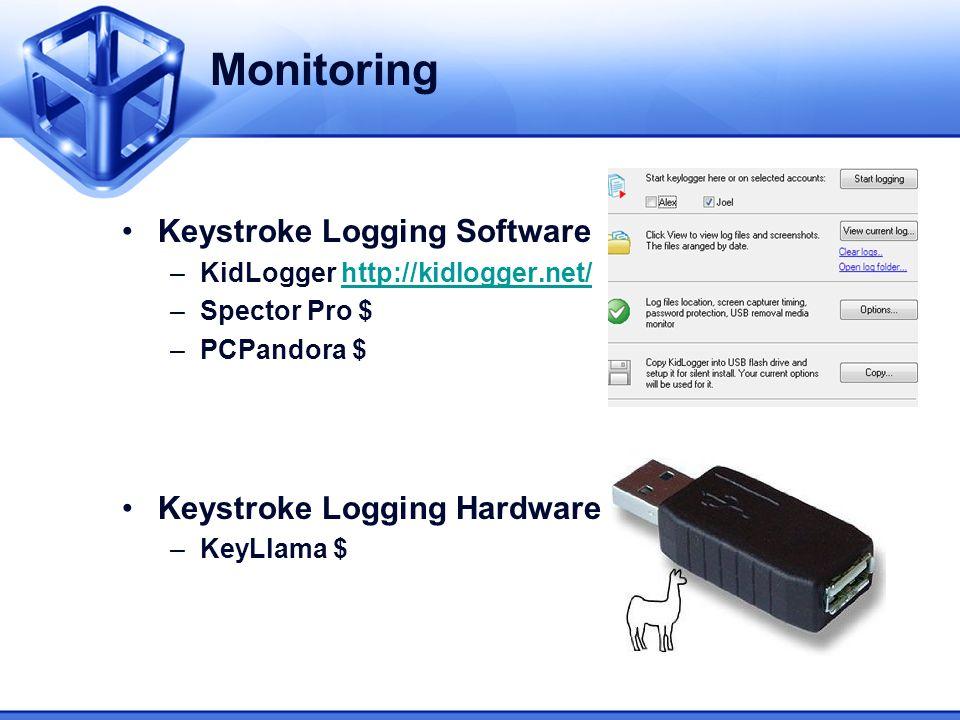 Monitoring Keystroke Logging Software –KidLogger http://kidlogger.net/http://kidlogger.net/ –Spector Pro $ –PCPandora $ Keystroke Logging Hardware –Ke