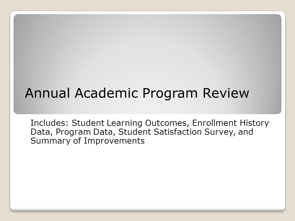 Annual Academic Program Review Includes: Student Learning Outcomes, Enrollment History Data, Program Data, Student Satisfaction Survey, and Summary of Improvements