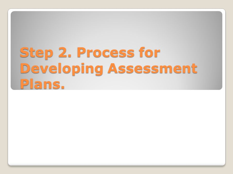Step 2. Process for Developing Assessment Plans.