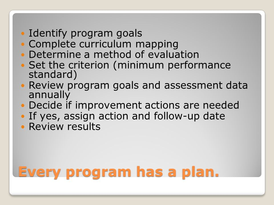 Every program has a plan. Identify program goals Complete curriculum mapping Determine a method of evaluation Set the criterion (minimum performance s