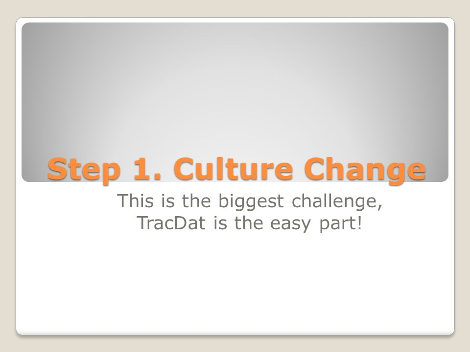 Step 1. Culture Change This is the biggest challenge, TracDat is the easy part!