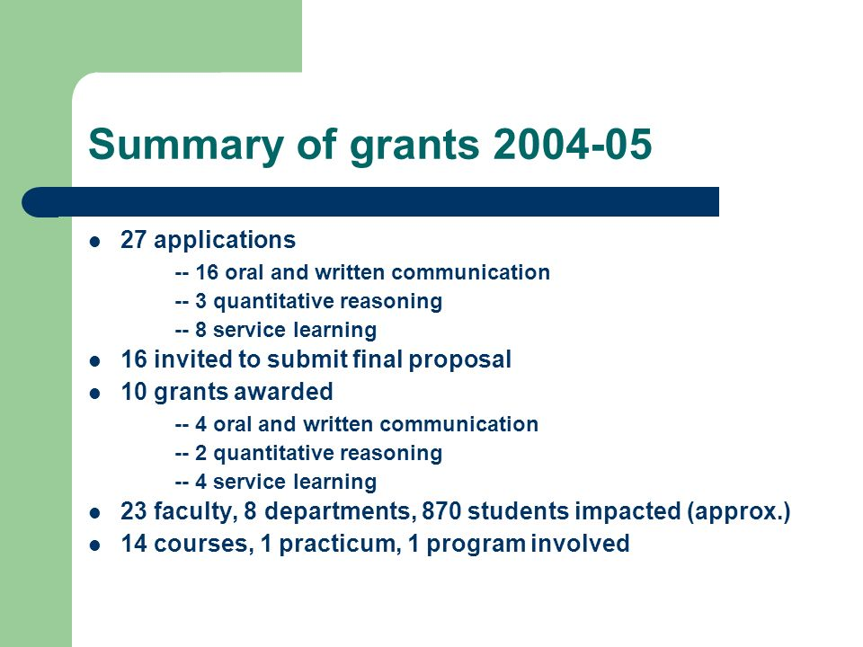 Summary of grants 2004-05 27 applications -- 16 oral and written communication -- 3 quantitative reasoning -- 8 service learning 16 invited to submit final proposal 10 grants awarded -- 4 oral and written communication -- 2 quantitative reasoning -- 4 service learning 23 faculty, 8 departments, 870 students impacted (approx.) 14 courses, 1 practicum, 1 program involved