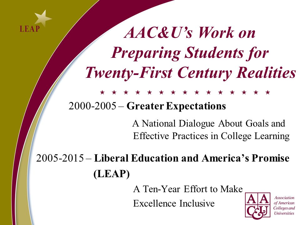 2000-2005 – Greater Expectations A National Dialogue About Goals and Effective Practices in College Learning 2005-2015 – Liberal Education and Americas Promise (LEAP) A Ten-Year Effort to Make Excellence Inclusive AAC&Us Work on Preparing Students for Twenty-First Century Realities
