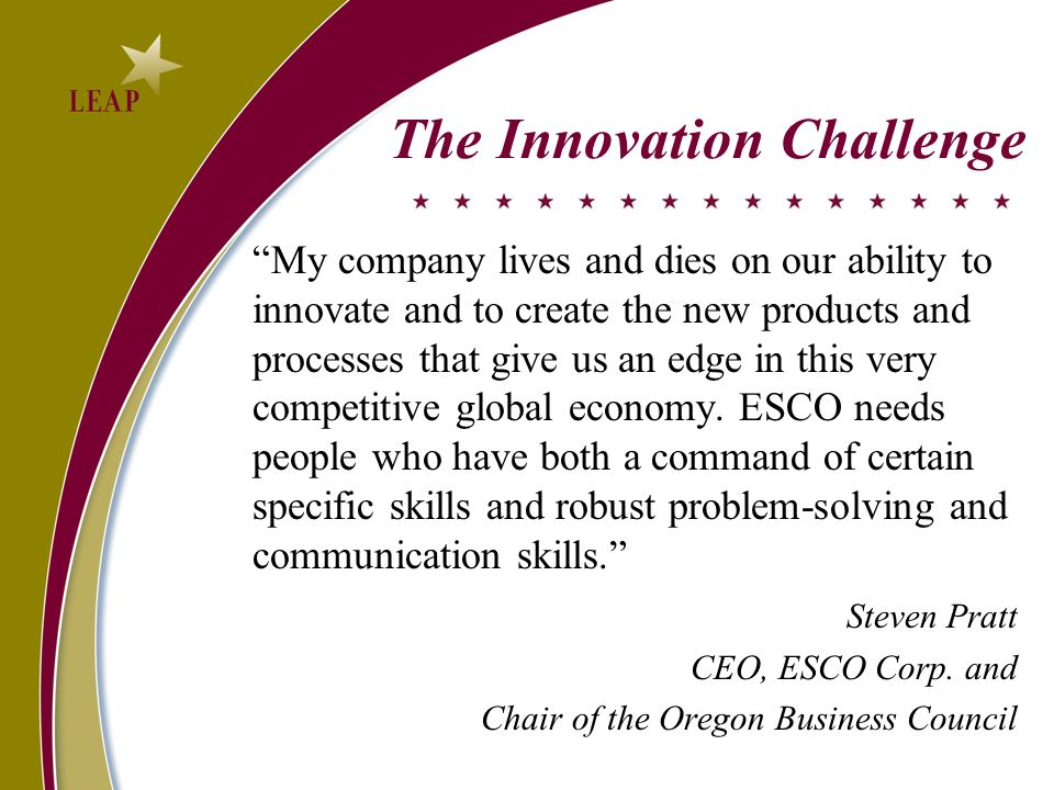 The Innovation Challenge My company lives and dies on our ability to innovate and to create the new products and processes that give us an edge in this very competitive global economy.