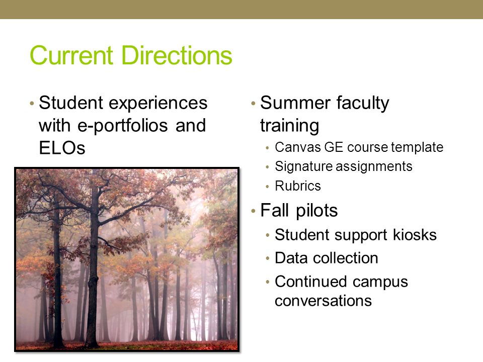Current Directions Student experiences with e-portfolios and ELOs Summer faculty training Canvas GE course template Signature assignments Rubrics Fall pilots Student support kiosks Data collection Continued campus conversations