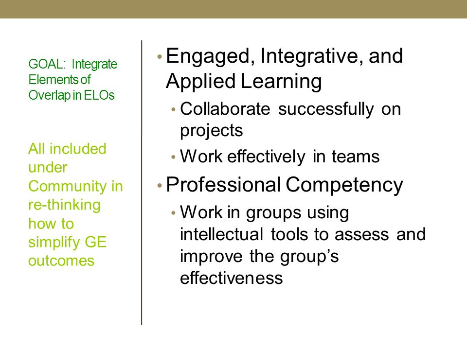 GOAL: Integrate Elements of Overlap in ELOs Engaged, Integrative, and Applied Learning Collaborate successfully on projects Work effectively in teams Professional Competency Work in groups using intellectual tools to assess and improve the groups effectiveness All included under Community in re-thinking how to simplify GE outcomes