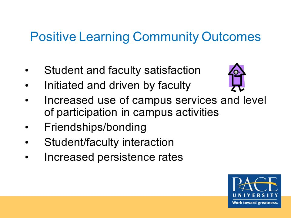 Positive Learning Community Outcomes Student and faculty satisfaction Initiated and driven by faculty Increased use of campus services and level of pa
