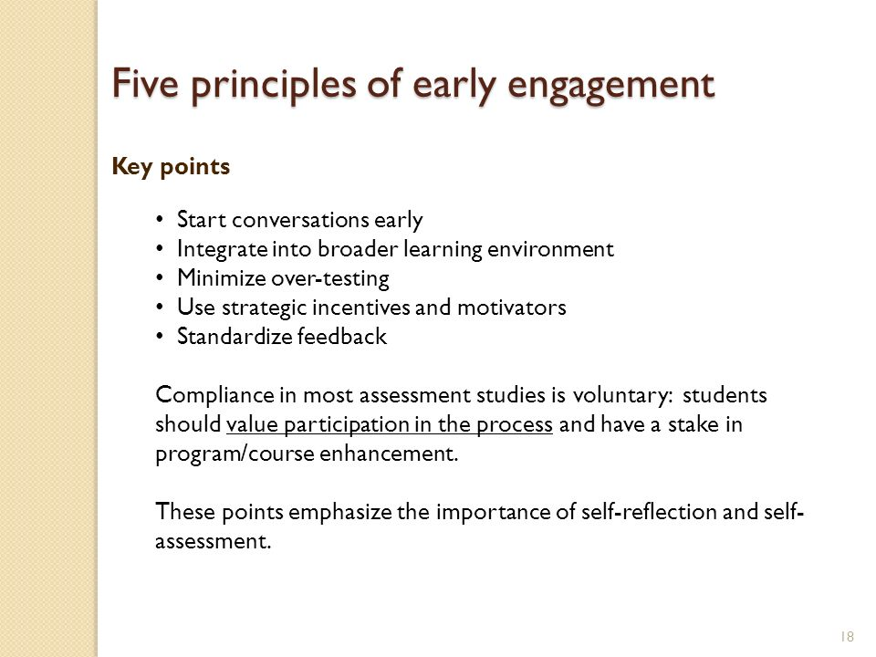 18 Start conversations early Integrate into broader learning environment Minimize over-testing Use strategic incentives and motivators Standardize fee