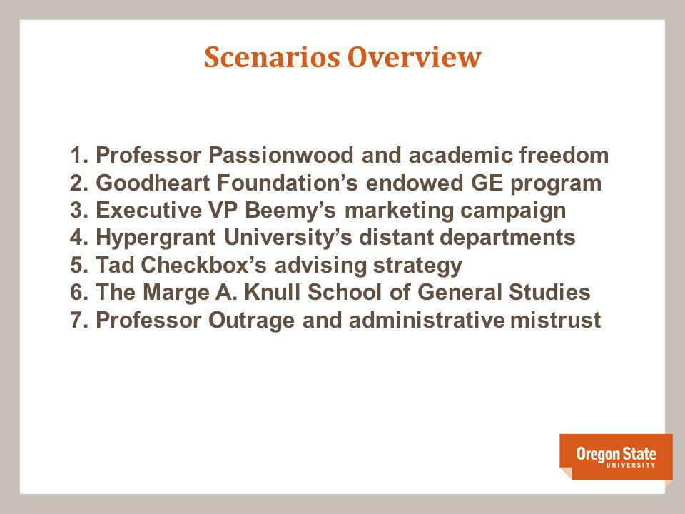 Scenarios Overview 1.Professor Passionwood and academic freedom 2.Goodheart Foundations endowed GE program 3.Executive VP Beemys marketing campaign 4.Hypergrant Universitys distant departments 5.Tad Checkboxs advising strategy 6.The Marge A.