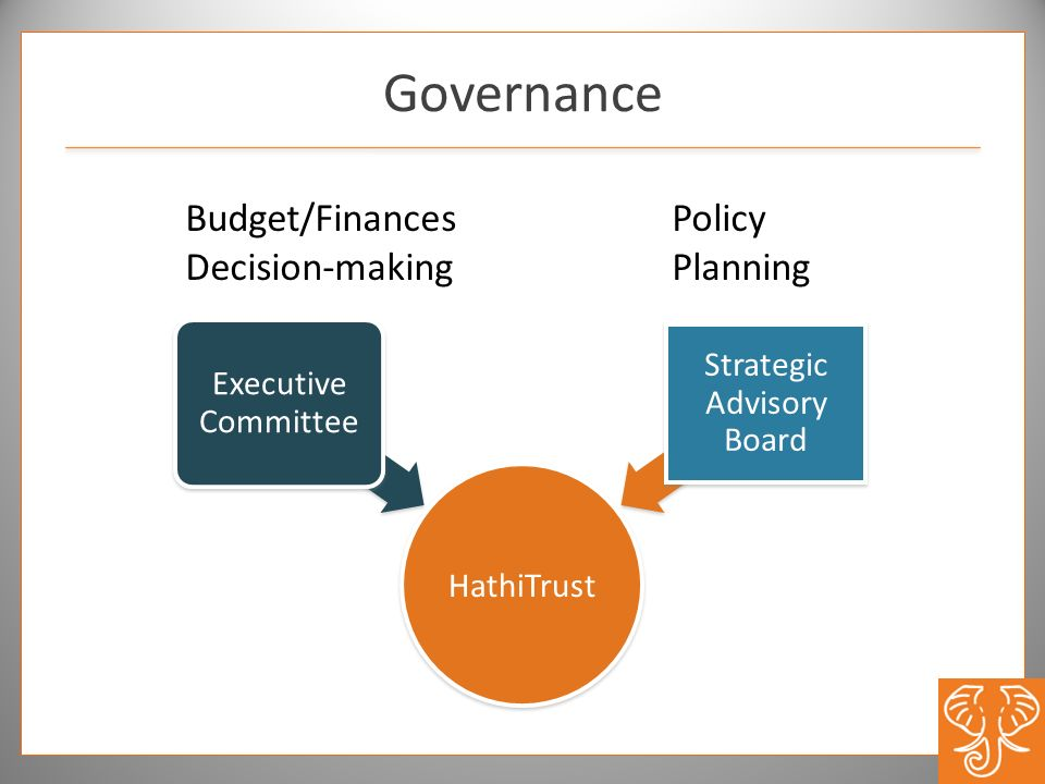 Governance HathiTrust Executive Committee Strategic Advisory Board Budget/Finances Decision-making Policy Planning