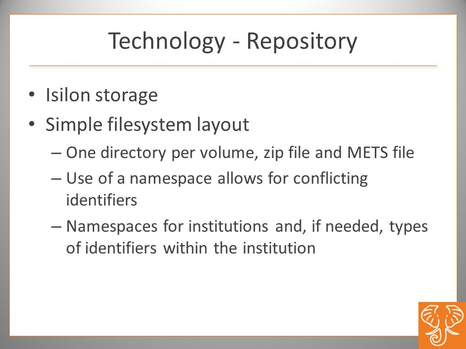 Isilon storage Simple filesystem layout – One directory per volume, zip file and METS file – Use of a namespace allows for conflicting identifiers – N