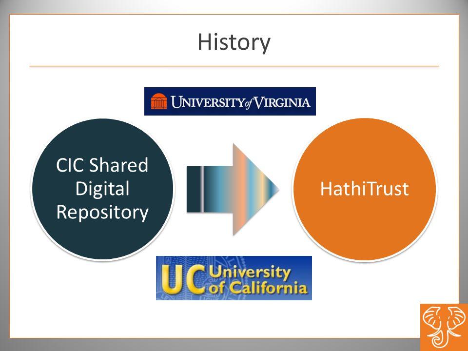 History CIC Shared Digital Repository HathiTrust