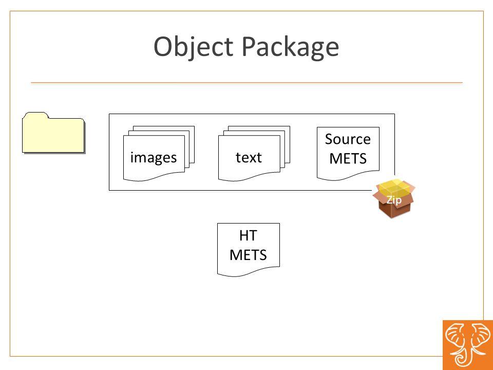Object Package images bib data bib data Source METS text HT METS Zip
