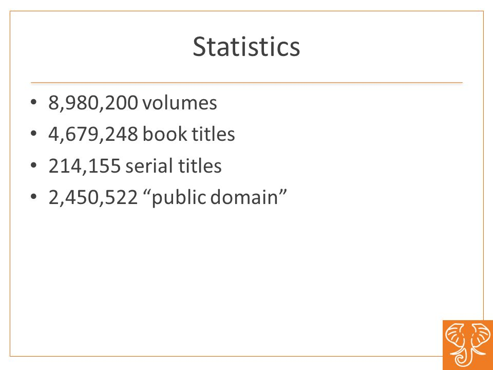 Statistics 8,980,200 volumes 4,679,248 book titles 214,155 serial titles 2,450,522 public domain