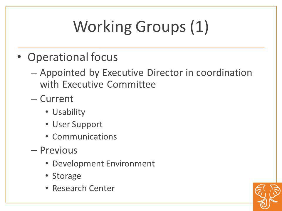 Working Groups (1) Operational focus – Appointed by Executive Director in coordination with Executive Committee – Current Usability User Support Communications – Previous Development Environment Storage Research Center