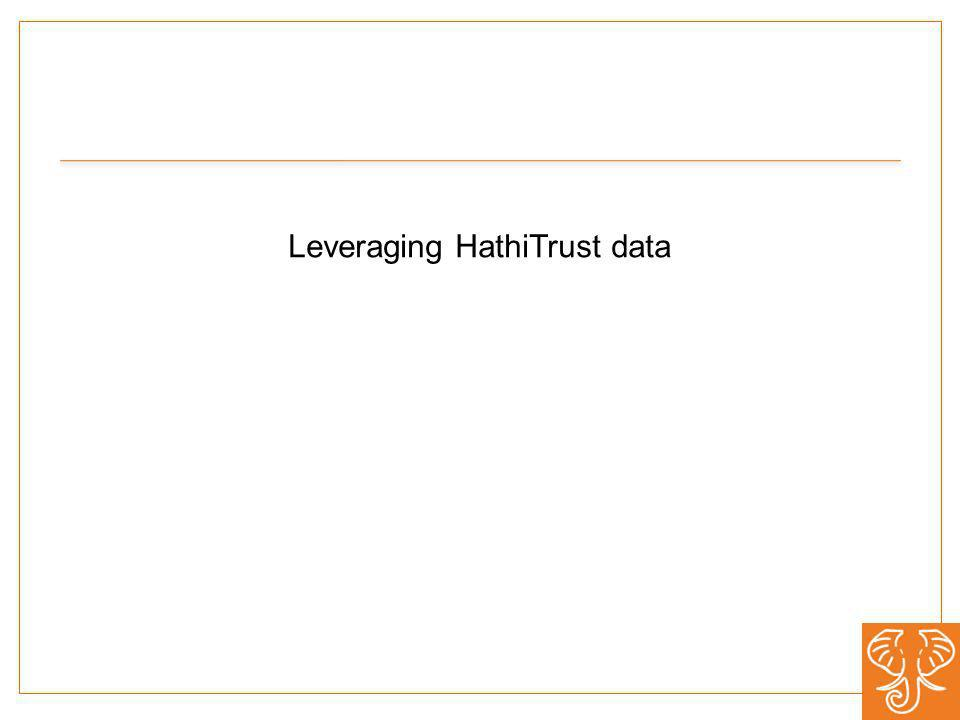 Leveraging HathiTrust data