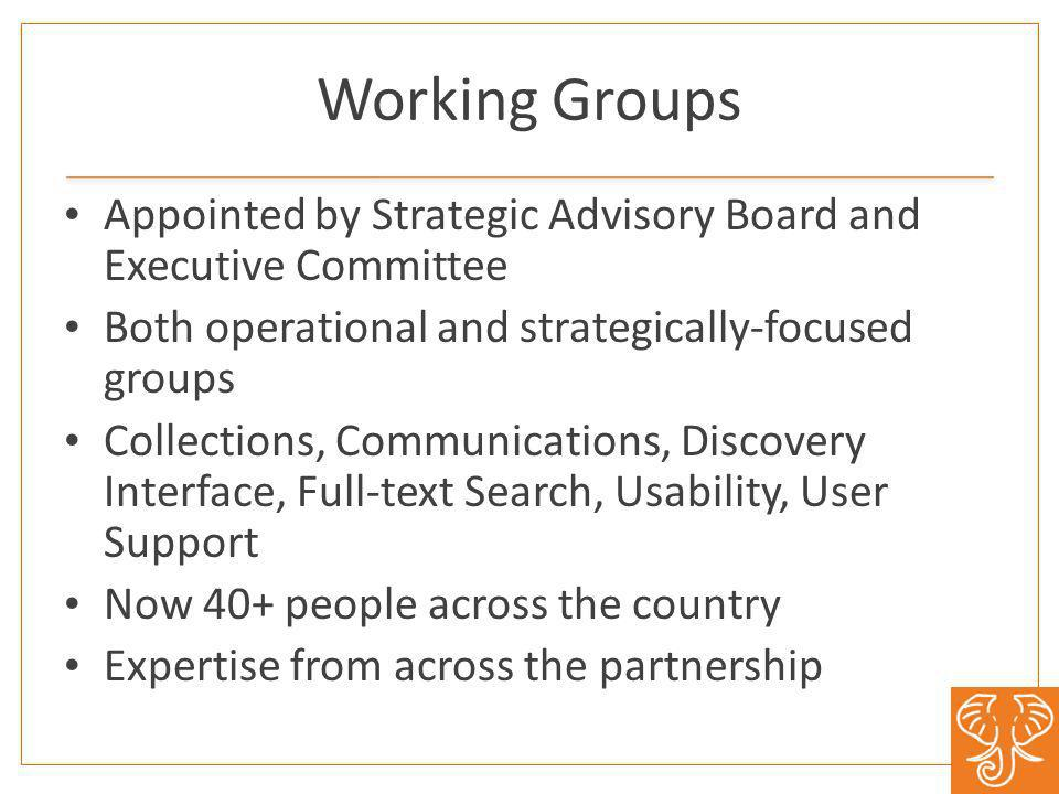 Working Groups Appointed by Strategic Advisory Board and Executive Committee Both operational and strategically-focused groups Collections, Communications, Discovery Interface, Full-text Search, Usability, User Support Now 40+ people across the country Expertise from across the partnership