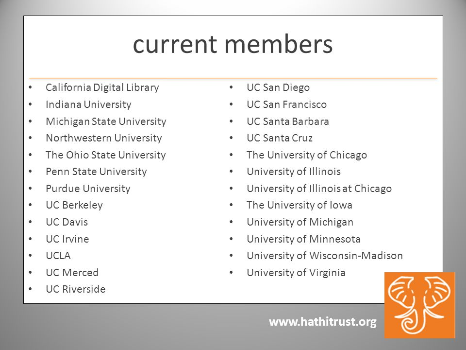 www.hathitrust.org current members California Digital Library Indiana University Michigan State University Northwestern University The Ohio State Univ