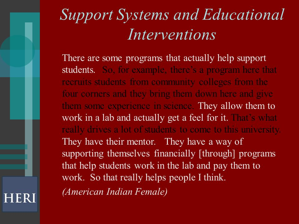 Support Systems and Educational Interventions There are some programs that actually help support students.