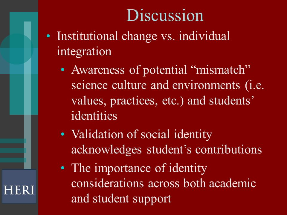 Discussion Institutional change vs.