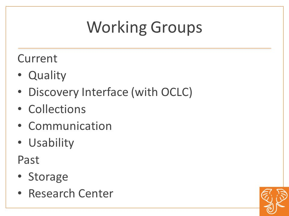 Working Groups Current Quality Discovery Interface (with OCLC) Collections Communication Usability Past Storage Research Center