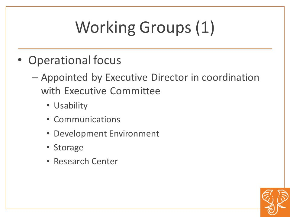 Working Groups (1) Operational focus – Appointed by Executive Director in coordination with Executive Committee Usability Communications Development Environment Storage Research Center