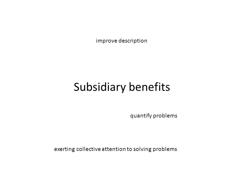 Subsidiary benefits improve description quantify problems exerting collective attention to solving problems