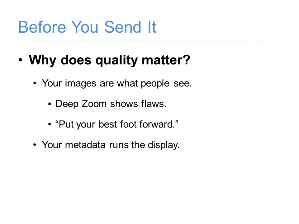 Why does quality matter? Your images are what people see. Deep Zoom shows flaws. Put your best foot forward. Your metadata runs the display.