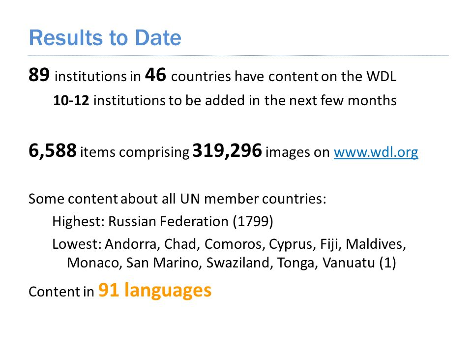 89 institutions in 46 countries have content on the WDL 10-12 institutions to be added in the next few months 6,588 items comprising 319,296 images on www.wdl.orgwww.wdl.org Some content about all UN member countries: Highest: Russian Federation (1799) Lowest: Andorra, Chad, Comoros, Cyprus, Fiji, Maldives, Monaco, San Marino, Swaziland, Tonga, Vanuatu (1) Content in 91 languages Results to Date