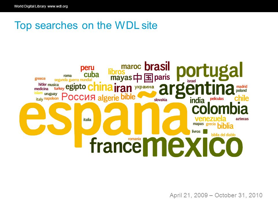 World Digital Library   OSI | WEB SERVICES Top searches on the WDL site April 21, 2009 – October 31, 2010