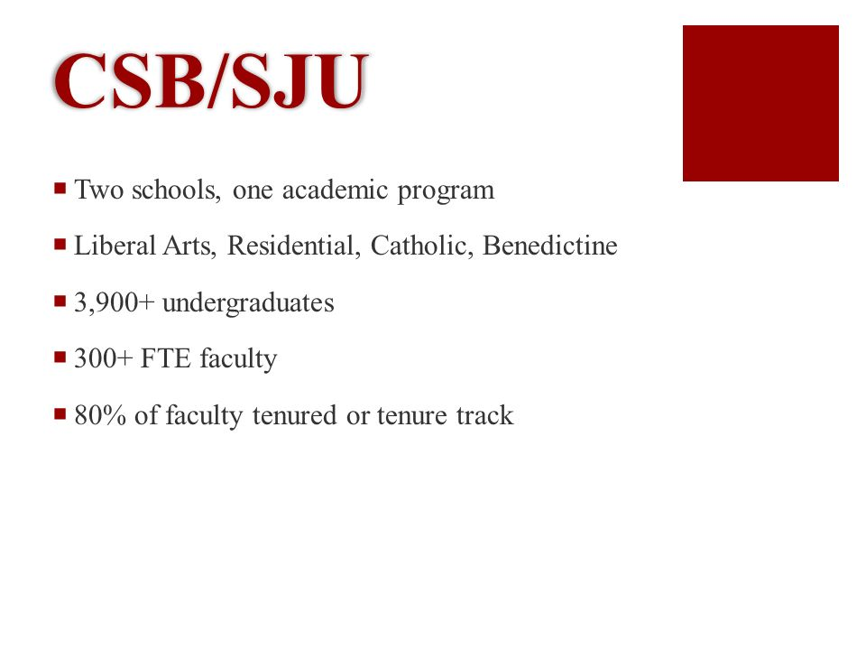 CSB/SJU Two schools, one academic program Liberal Arts, Residential, Catholic, Benedictine 3,900+ undergraduates 300+ FTE faculty 80% of faculty tenured or tenure track