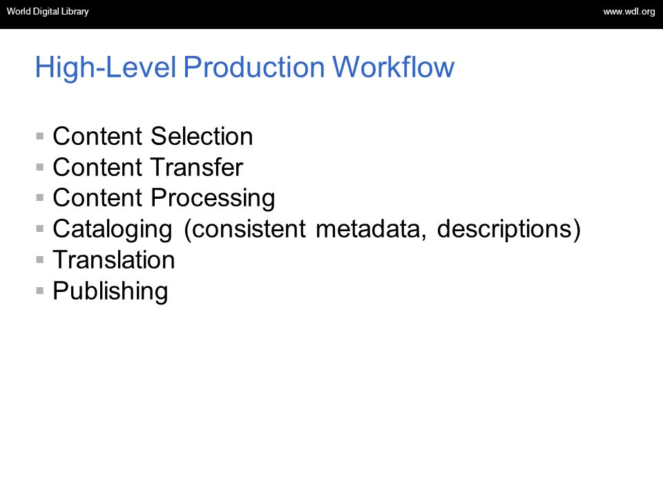 OSI | WEB SERVICES High-Level Production Workflow Content Selection Content Transfer Content Processing Cataloging (consistent metadata, descriptions) Translation Publishing World Digital Library