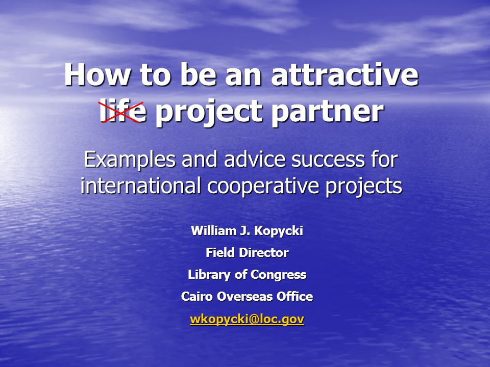 How to be an attractive life project partner Examples and advice success for international cooperative projects William J.
