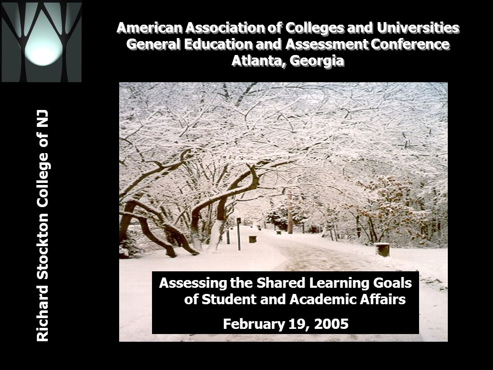 Richard Stockton College of NJ American Association of Colleges and Universities General Education and Assessment Conference Atlanta, Georgia February 19, 2005 Assessing the Shared Learning Goals of Student and Academic Affairs February 19, 2005