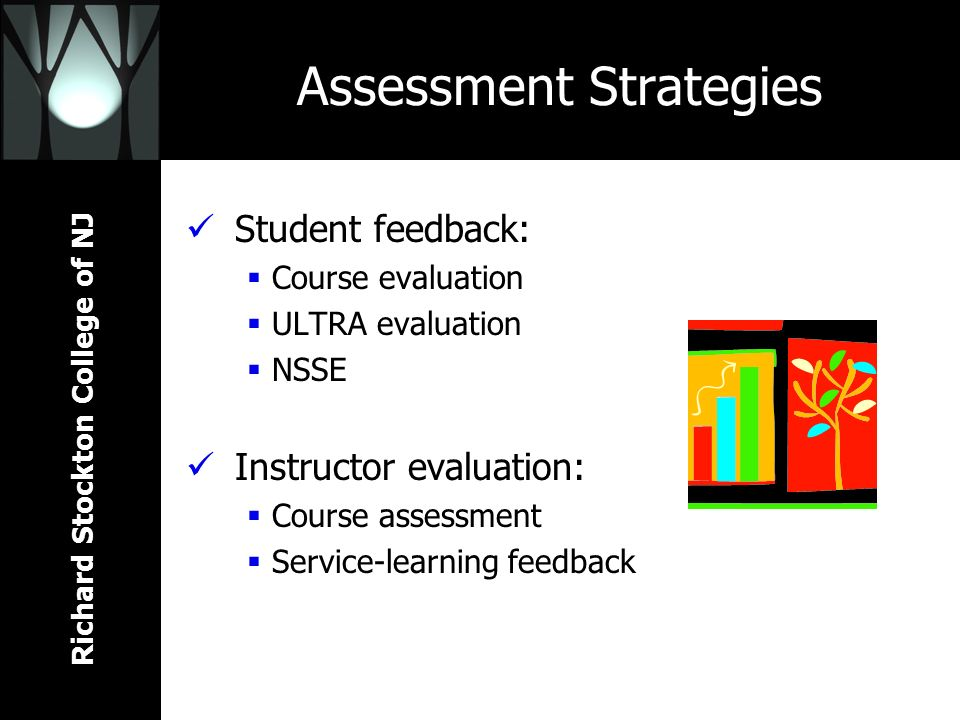 Richard Stockton College of NJ Assessment Strategies Student feedback: Course evaluation ULTRA evaluation NSSE Instructor evaluation: Course assessmen
