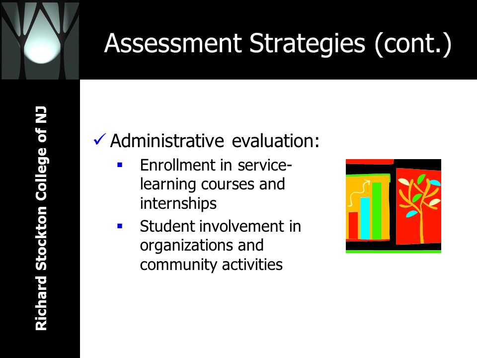 Richard Stockton College of NJ Assessment Strategies (cont.) Administrative evaluation: Enrollment in service- learning courses and internships Studen
