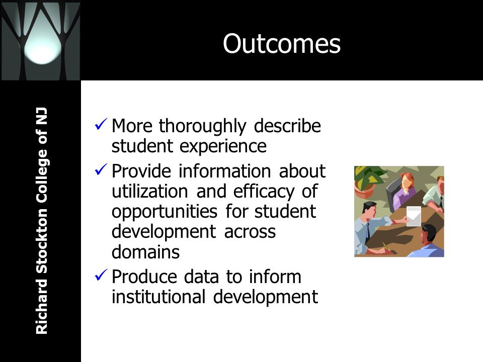 Richard Stockton College of NJ Outcomes More thoroughly describe student experience Provide information about utilization and efficacy of opportunities for student development across domains Produce data to inform institutional development