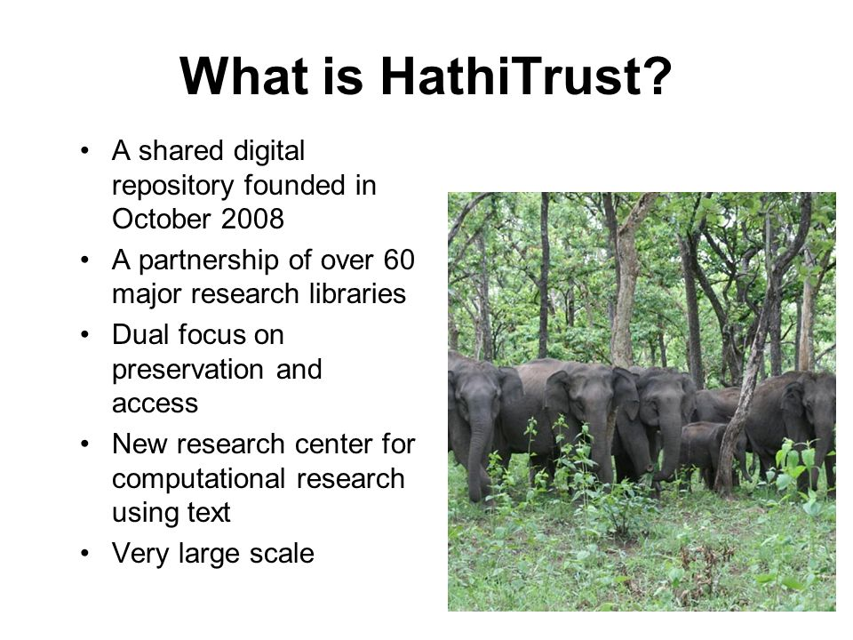 HathiTrust current stats 10,304,433 total volumes 5,463,326 book titles 271,037 serial titles 3,606,551,550 pages 462 terabytes 122 miles 8,372 tons 2,996,421 volumes (~29% of total) in the public domain HathiTrust Current Statistics