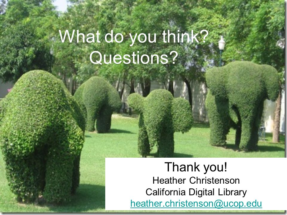 What do you think? Questions? Thank you! Heather Christenson California Digital Library heather.christenson@ucop.edu heather.christenson@ucop.edu