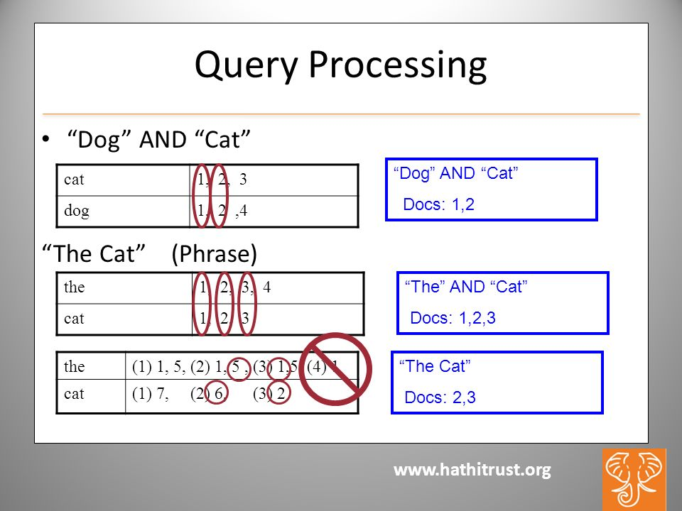www.hathitrust.org Query Processing Dog AND Cat The Cat (Phrase) cat1, 2, 3 dog1, 2,4 the(1) 1, 5, (2) 1, 5, (3) 1,5, (4) 1 cat(1) 7, (2) 6, (3) 2 the1, 2, 3, 4 cat1, 2, 3 Dog AND Cat Docs: 1,2 The AND Cat Docs: 1,2,3 The Cat Docs: 2,3
