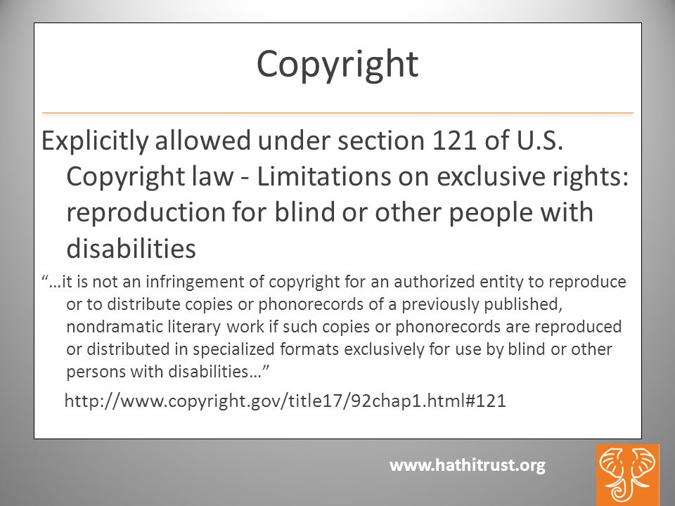 www.hathitrust.org Copyright Explicitly allowed under section 121 of U.S.