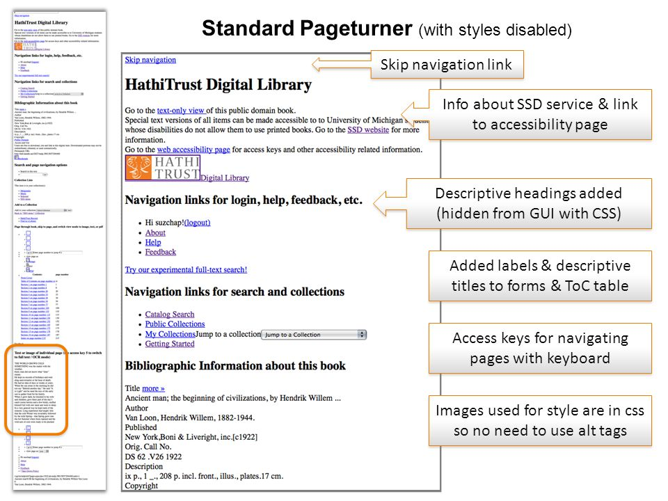 www.hathitrust.org Standard Pageturner (with styles disabled) Descriptive headings added (hidden from GUI with CSS) Info about SSD service & link to accessibility page Images used for style are in css so no need to use alt tags Skip navigation link Access keys for navigating pages with keyboard Added labels & descriptive titles to forms & ToC table
