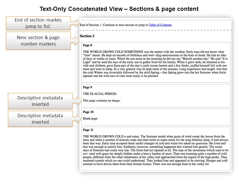 www.hathitrust.org Text-Only Concatenated View – Sections & page content End of section marker, jump to ToC Descriptive metadata inserted New section & page number markers