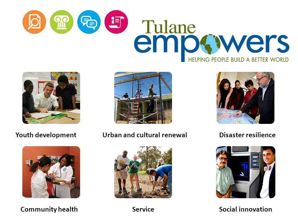 Youth developmentUrban and cultural renewalDisaster resilience Community healthServiceSocial innovation