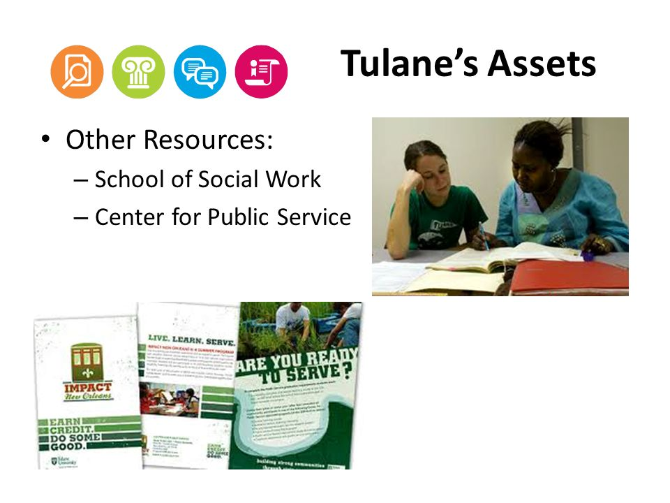 Tulanes Assets Other Resources: – School of Social Work – Center for Public Service